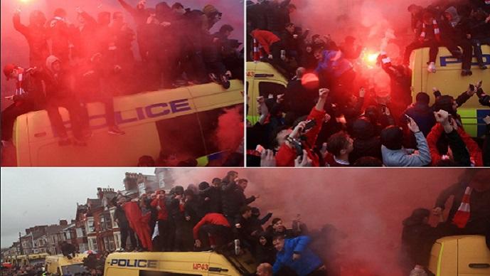 Фановите на Ливерпул на едно ниво погоре од другите  се качија на полициските комбиња во спектакуларната атмосфера низ улиците  ФОТО ВИДЕО